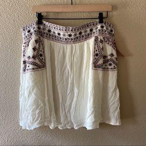 Xhilaration XXL Floral Embroidered White Skirt NWT